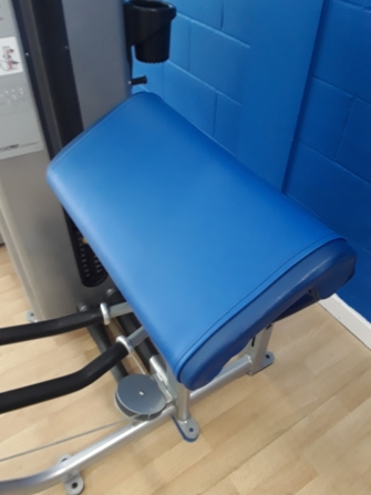 Repaired gym equipment seat