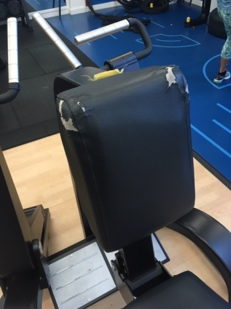 Damaged back to multi gym seat