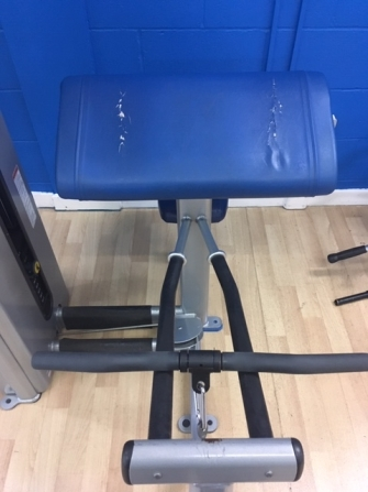 Damaged gym equipment seat